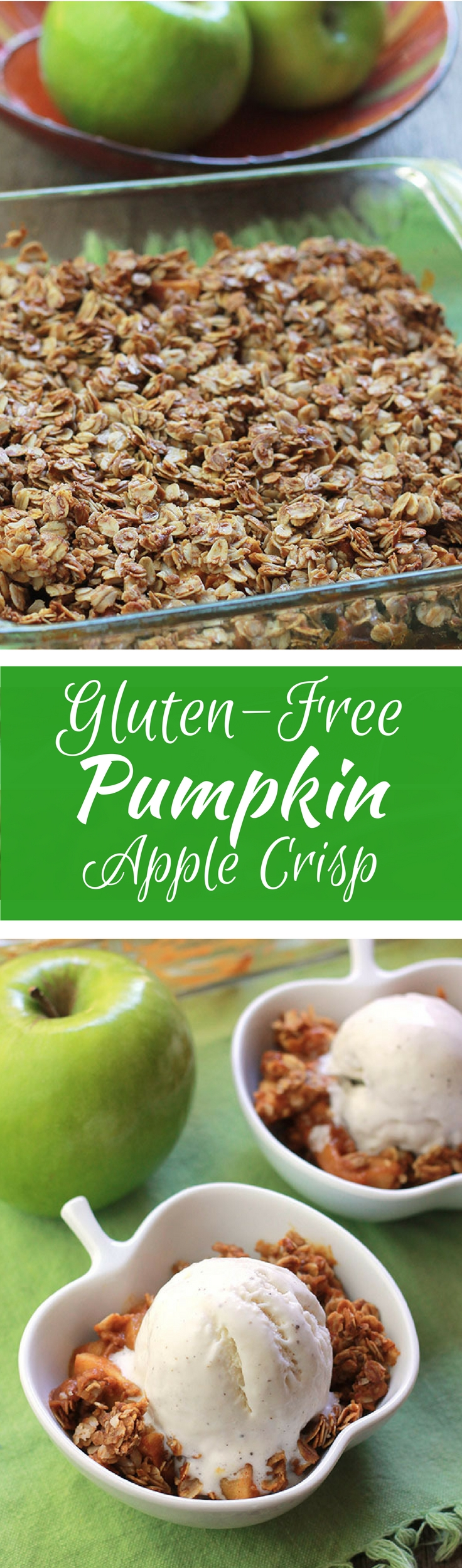 Gluten-Free Pumpkin Apple Crisp - Sliced and diced Granny Smith apples tossed in a pumpkin molasses mixture, topped with a lightly sweetened crumb topping. A new take on an old fall classic.