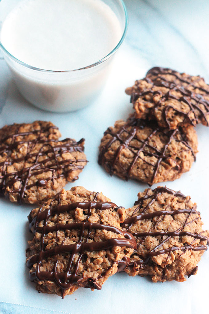 Hearty, wholesome, not overly sweet Nut Butter Oatmeal Cookies drizzled with Chocolate, oh-so-delicious!