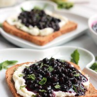 Lemon Ricotta Toast with Wild Blueberry Sauce