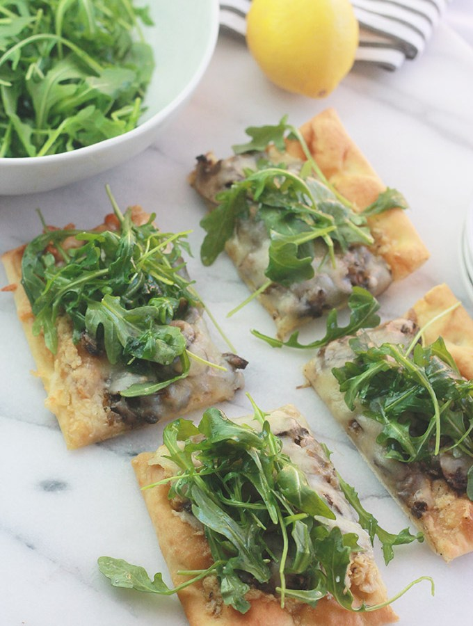 Mushroom Pizza with Artichoke Pesto and Arugula-Rich, aromatic, and filled with incredible flavor.