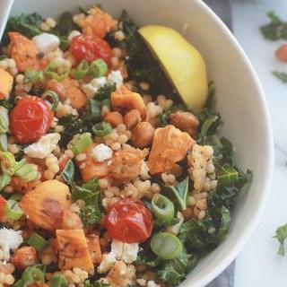 Israeli Couscous Kale Salad with Feta