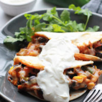 Baked Black Bean Tacos with Red Chile Sauce