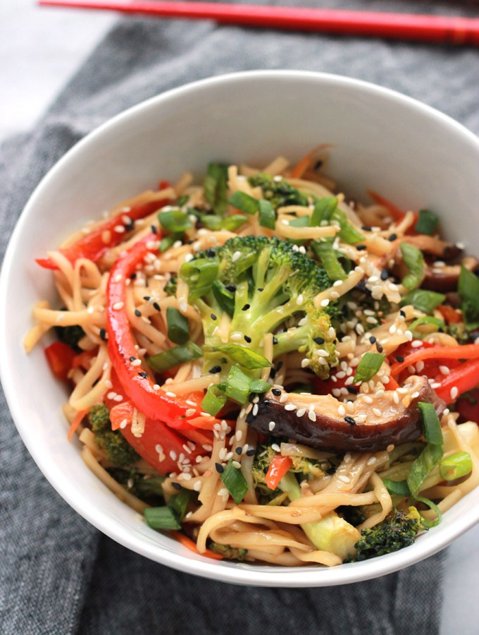 Sautéed veggies, tender buckwheat ramen noodles tossed together in teriyaki sauce and a touch of heat from sriracha, makes a quick and easy meal.