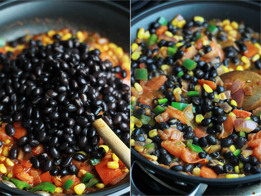 Onions, corn, tomatoes, jalapeno, black beans in a skillet.