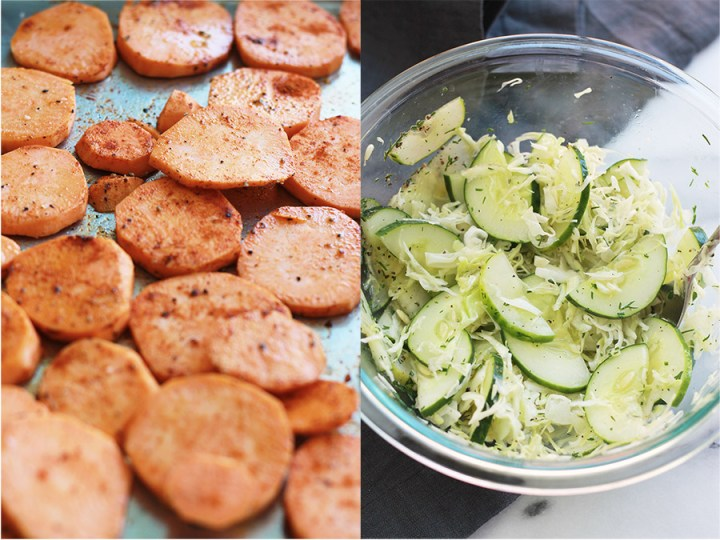 pan of roasted sweet potato rounds and bowl of cucumbers and shredded cabbage sprinkled with dill.