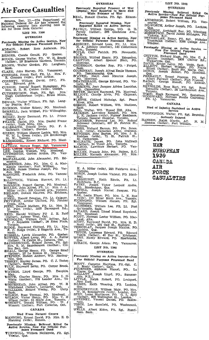 Newspaper Notices / pGlobe and Mail Dec 12 1945 Latham