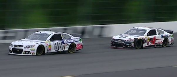 Dale Earnhardt Jr. and Kevin Harvick racing to the finish at Pocono