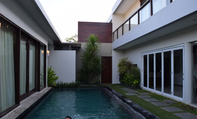 Pool with the main bedroom pavilion on the left