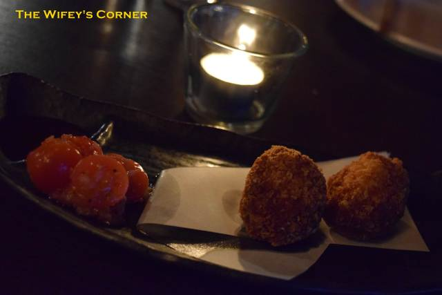 Crab croquette - creamy crab and corn croquettes shallow-fried in soybean oil with jalapeno salsa and tonkatsu sauce