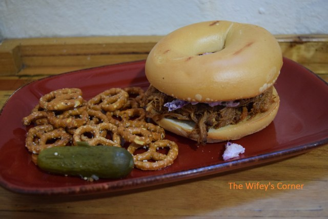 14 Hour BBQ Pulled Pork Closed Bagel