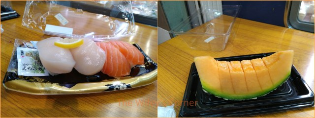 kuromon market sushi and melon