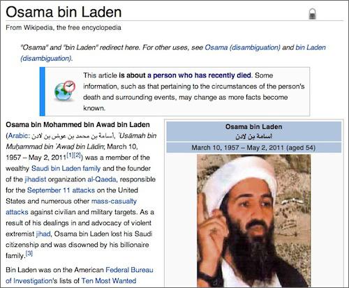 Osama bin Laden, finally dead (on Wikipedia)