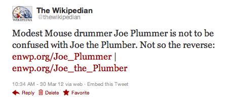 Joe Plummer vs. Joe the Plumber on Wikipedia