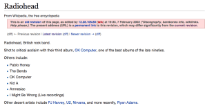 Radiohead on Wikipedia