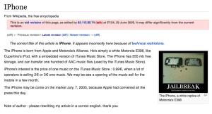 iPhone on Wikipedia