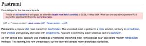 Pastrami on Wikipedia