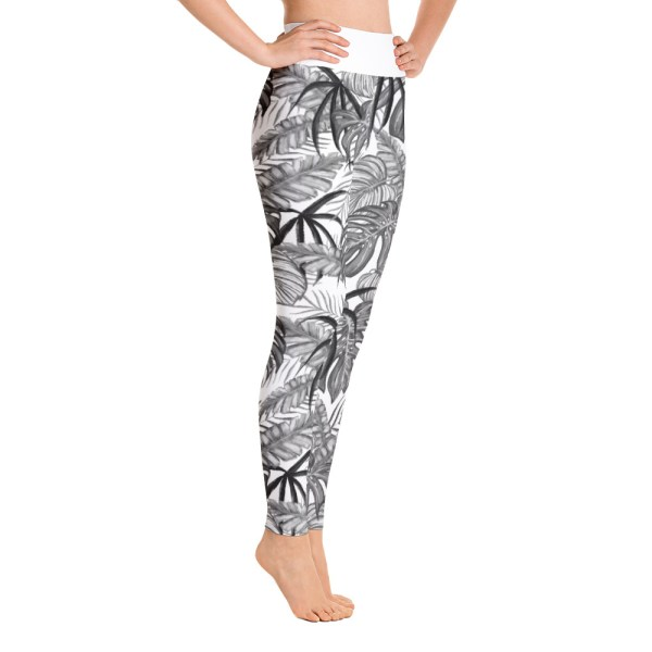 White Tropical Leaf Yoga Leggings
