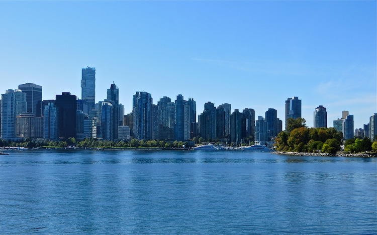view of Vancouver BC from Stanley Park