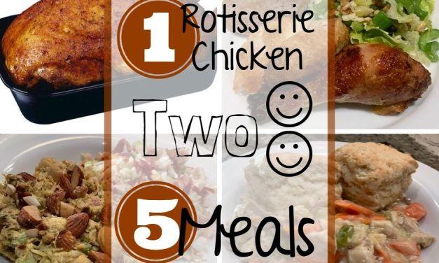 1 Rotisserie Chicken, 2 People, 5 Meals