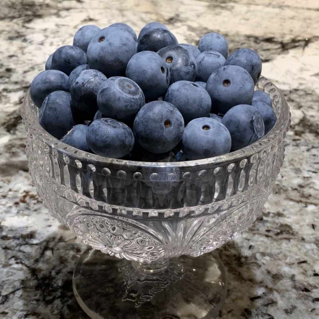 Blueberries in a Glass Dish