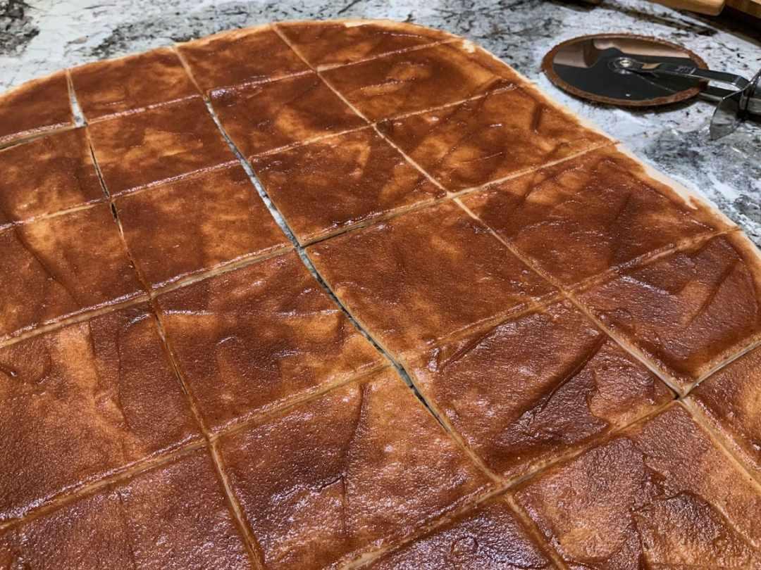 "Dough for Cinnamon Pull-Apart Bread cut into 3"" squares"