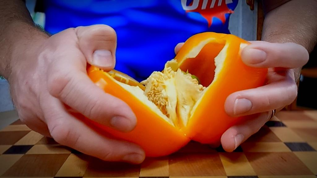Cut your favorite color bell pepper in half and remove the seeds