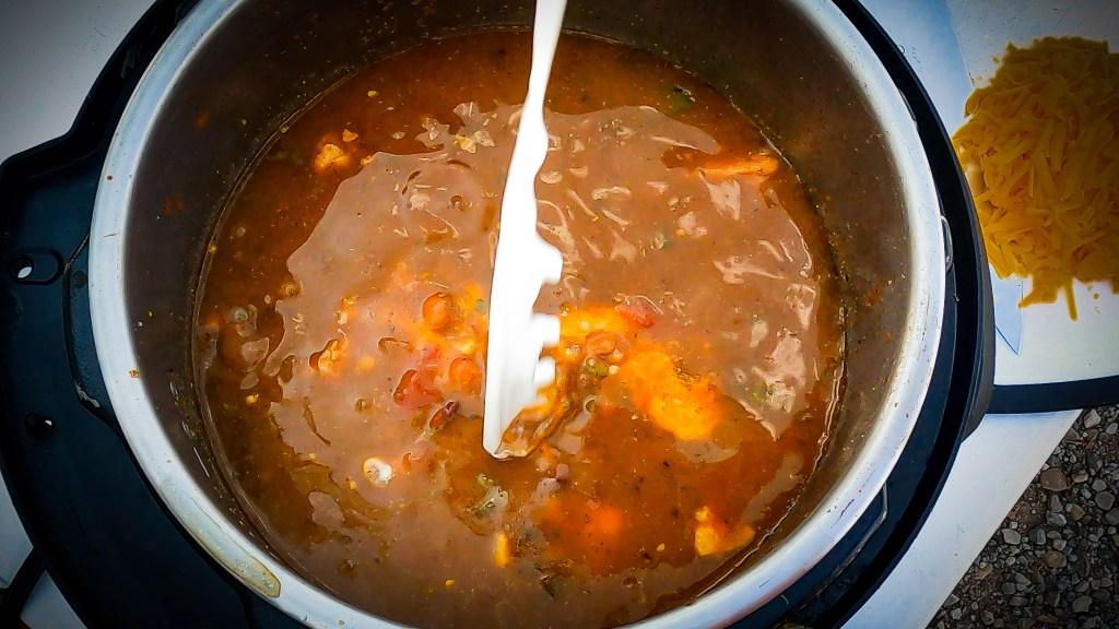 Add 1 Cup cream to the creamy chicken chili verde
