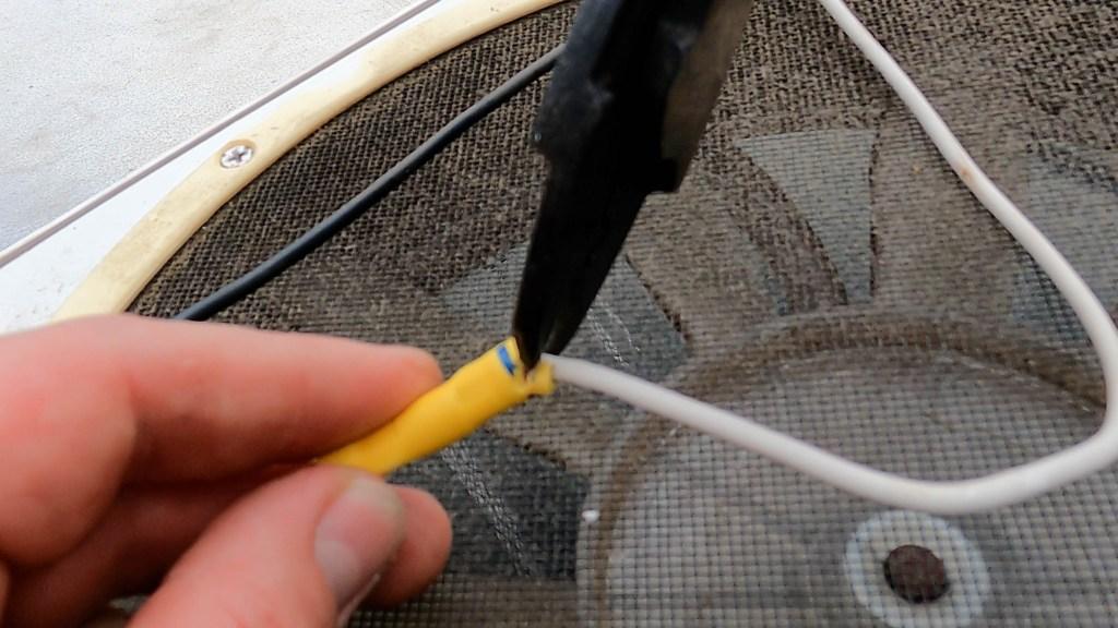 RV roof vent fan wire cut