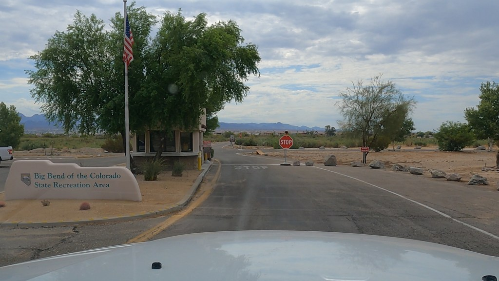 Pulling up to the Ranger's Welcome building at Big Bend of the Colorado River Recreation Area