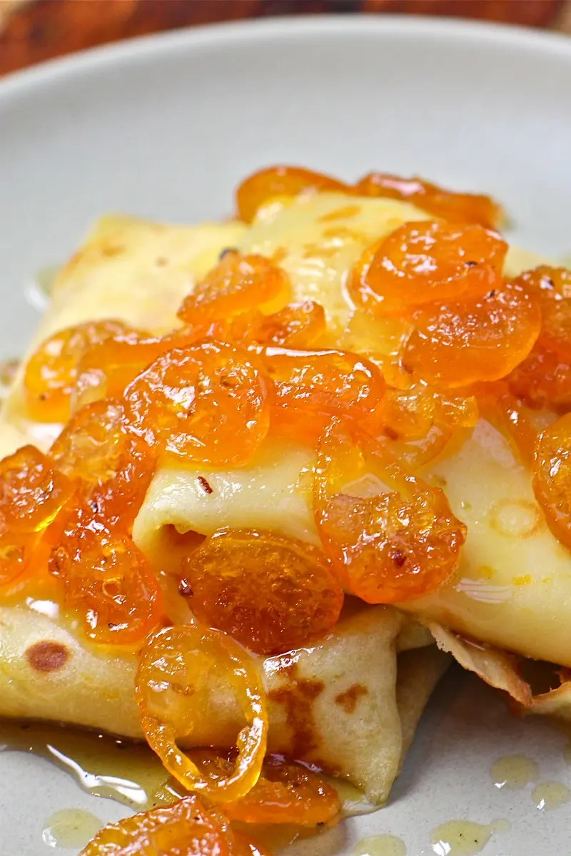 Ricotta Filled Crepes with Candied Kumquats