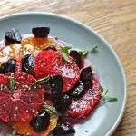 citrus salad with oranges, tangelos, beets, maple vinaigrette