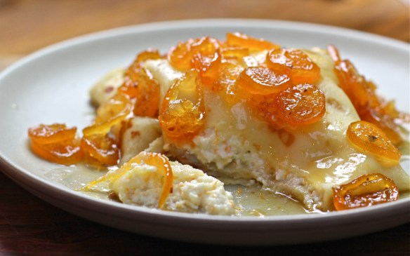 Ricotta Crepes with Lillet Kumquat Compote