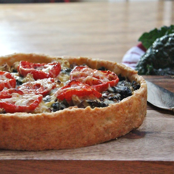 vegetable tart with kale in a cheddar crust