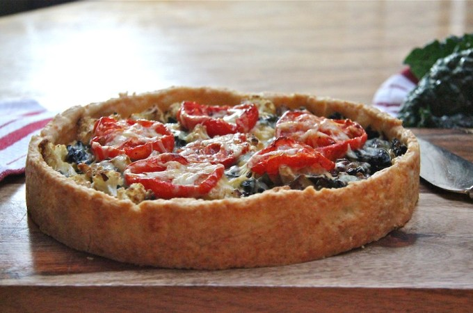 hearty tart with kale and cauliflower in a cheddar crust