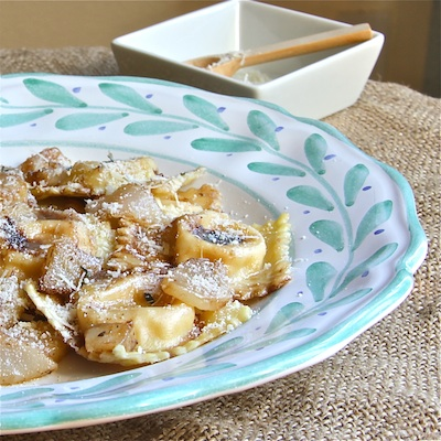 Butternut Ricotta Ravioli with Brown Butter Pears and Balsamic closeup: The Wimpy Vegetarian