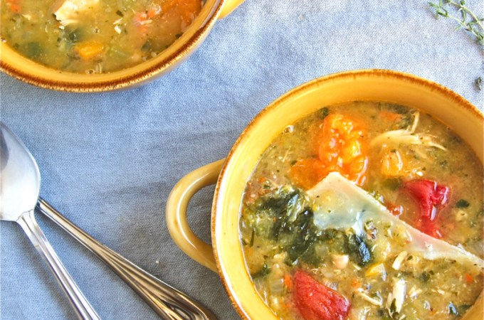 Rustic soup filled with vegetable chunks, beans, tomatoes, and butternut squash.