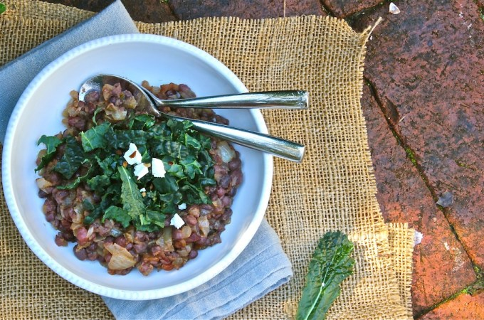Adzuki Beans with Miso and Chopped Kale