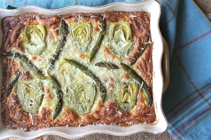 Springtime Asparagus Egg Bake with Artichokes and Potatoes