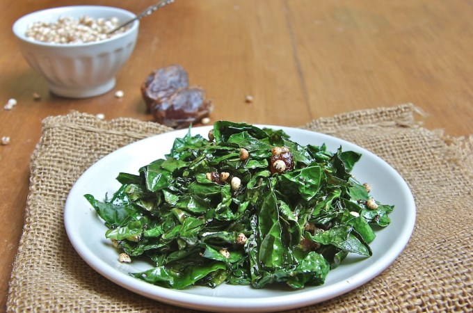 Kale Sautéed with Miso, Dates and Millet