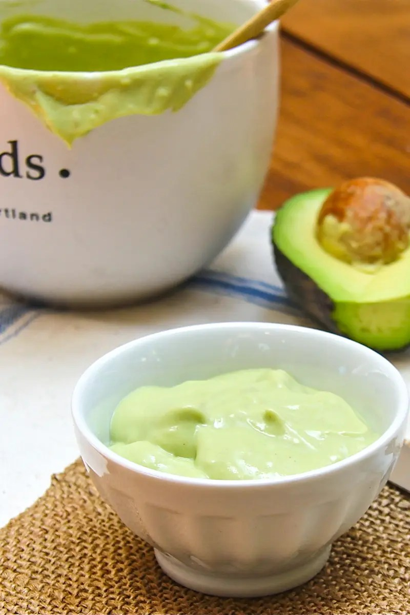 Avocado cream with a little kick from chipotle in adobo. Great for sandwiches, pasta sauce, or add to a little olive oil for a salad dressing.