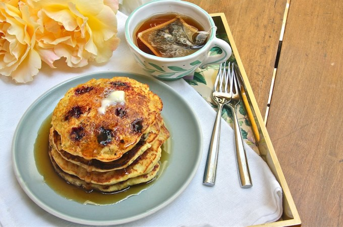 cornbread pancakes with blackberries for Mother's Day breakfast