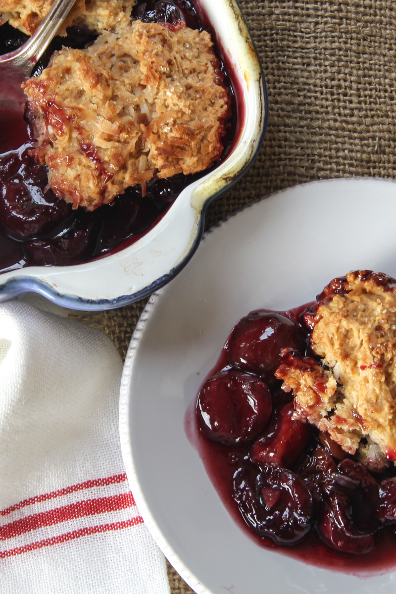 Cherry Cobbler with Coconut Biscuit Topping