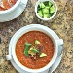 Vegan gazpacho soup for summer lunch or dinner