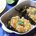 roasted poblano peppers stuffed with warm corn salad, cooking for vegetarians and meat eaters