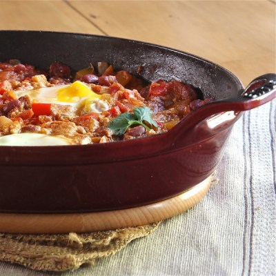 vegetarian main dish, Moroccan Bean Ragout with Poached Eggs