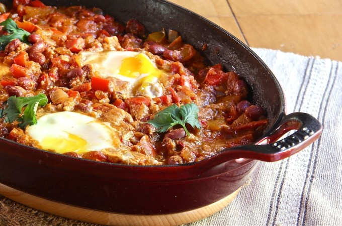 vegetarian main meal, moroccan ragout with poached eggs