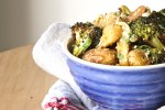 Broccoli and potatoes tossed in a gribiche made of hard boiled eggs.