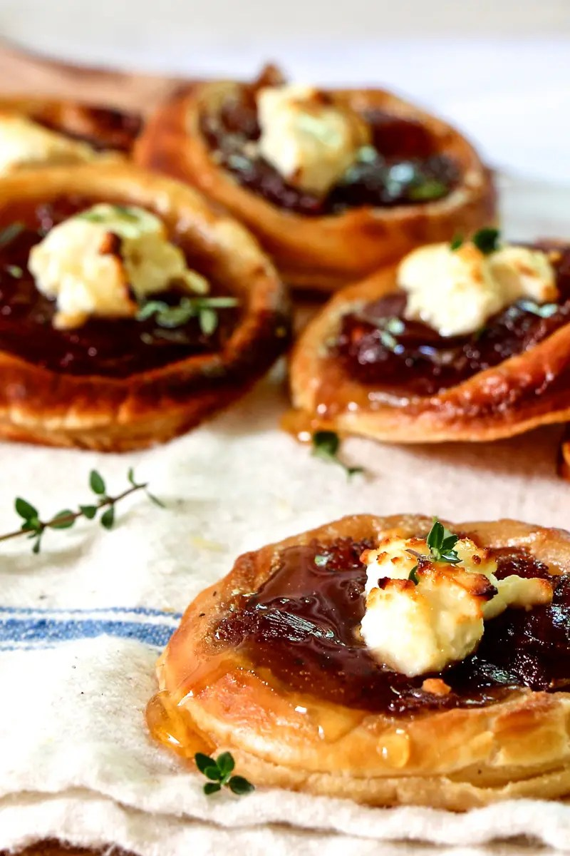 Puff Pastry with Caramelized Onions, Feta and Honey