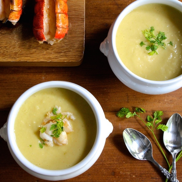 celery root bisque with broiled lobster tails