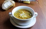 vegan summer farro soup, asparagus, cannelloni beans